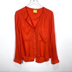 Anthropologie Maeve coral button down blouse 12